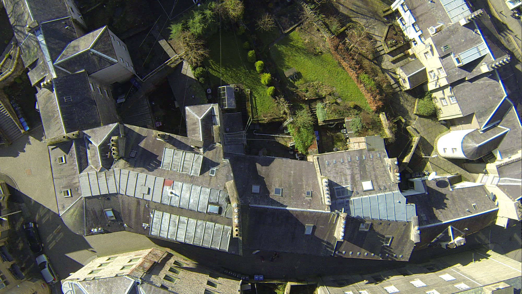 Rooftops and gardens aerial view - Survey Drones